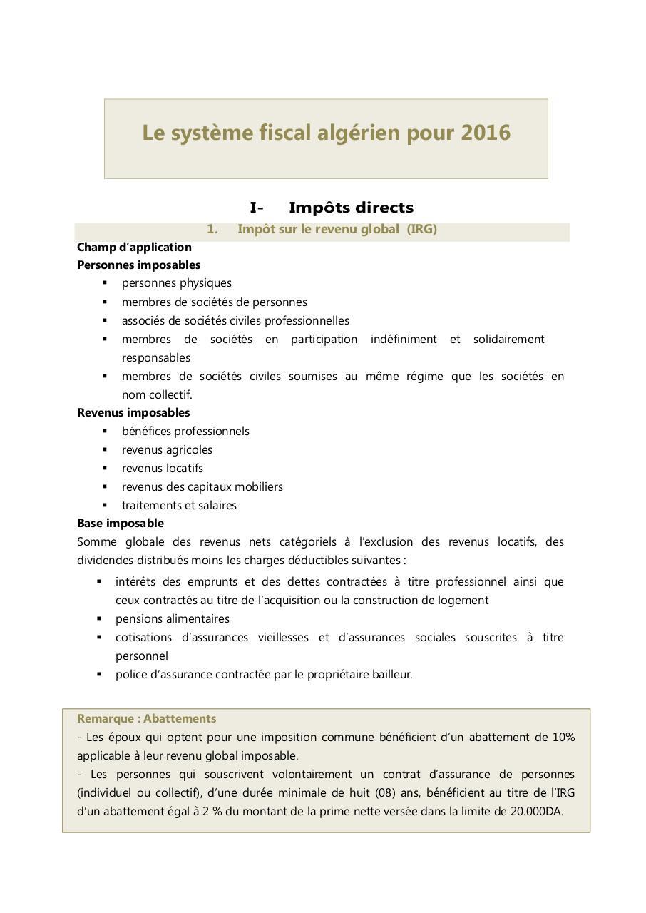 2017 IRG PDF BAREME TÉLÉCHARGER ALGERIE