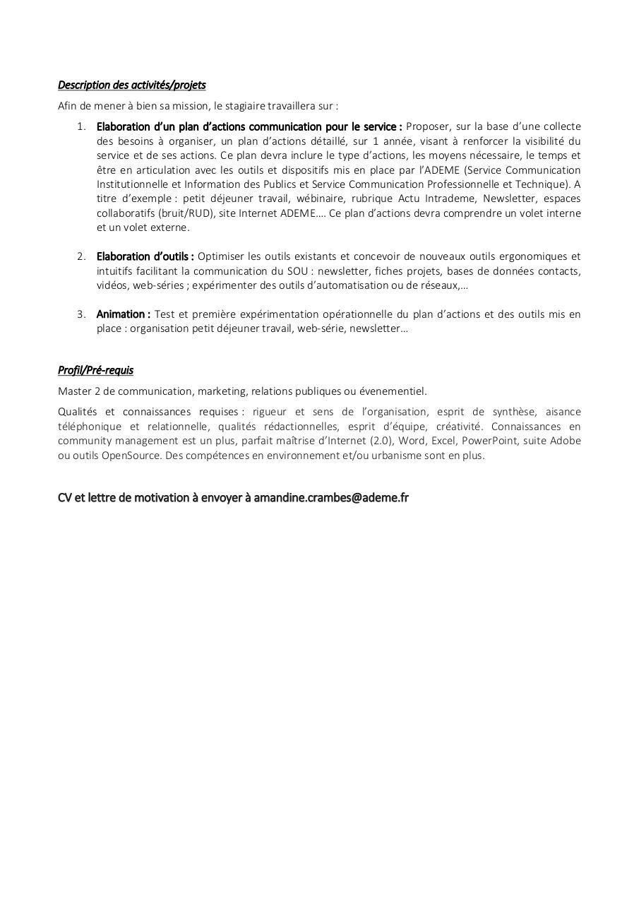 offre stage communication urbanisme docx par crambesa