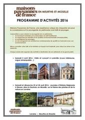 programme 2016 de maisons paysannes de france en meurthe et moselle