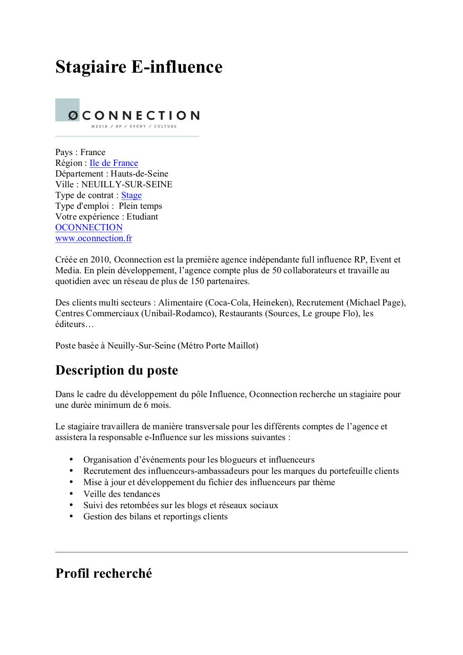 Oconnection - Stagiaire e-influence.pdf - page 1/2