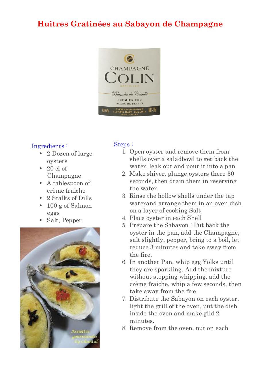 Aperçu du document Browned oysters with sabayon of Champagne.pdf - page 1/1