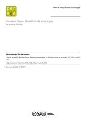 questions de sociologie
