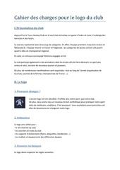 Fichier PDF cahier des charges pour le logo du club