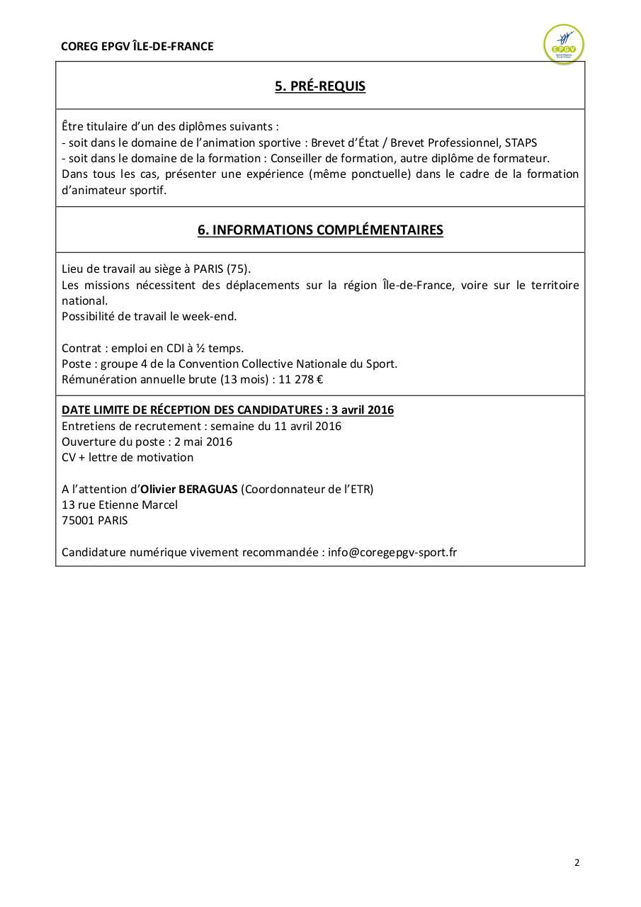 Fiche De Poste Formateur Coreg Epgv Idf Doc Par Coreg