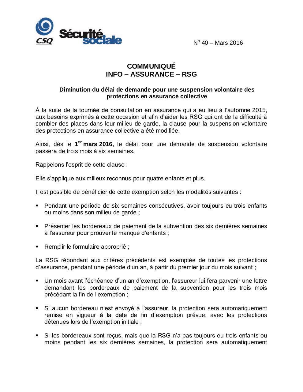 Aperçu du document Info RSG- No 40- Mars 2016-Suspension volontaire.pdf - page 1/2