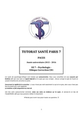 ue7 psychologie Ethique cb1 tutorat 2015 2016 correction