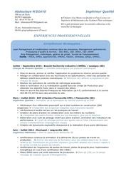 Fichier PDF cv ingenieur qualite 2 annees d experiances