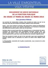 info familles mouvement de greve du 17 au 31 mars 2016
