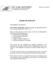 Fichier PDF offre de services