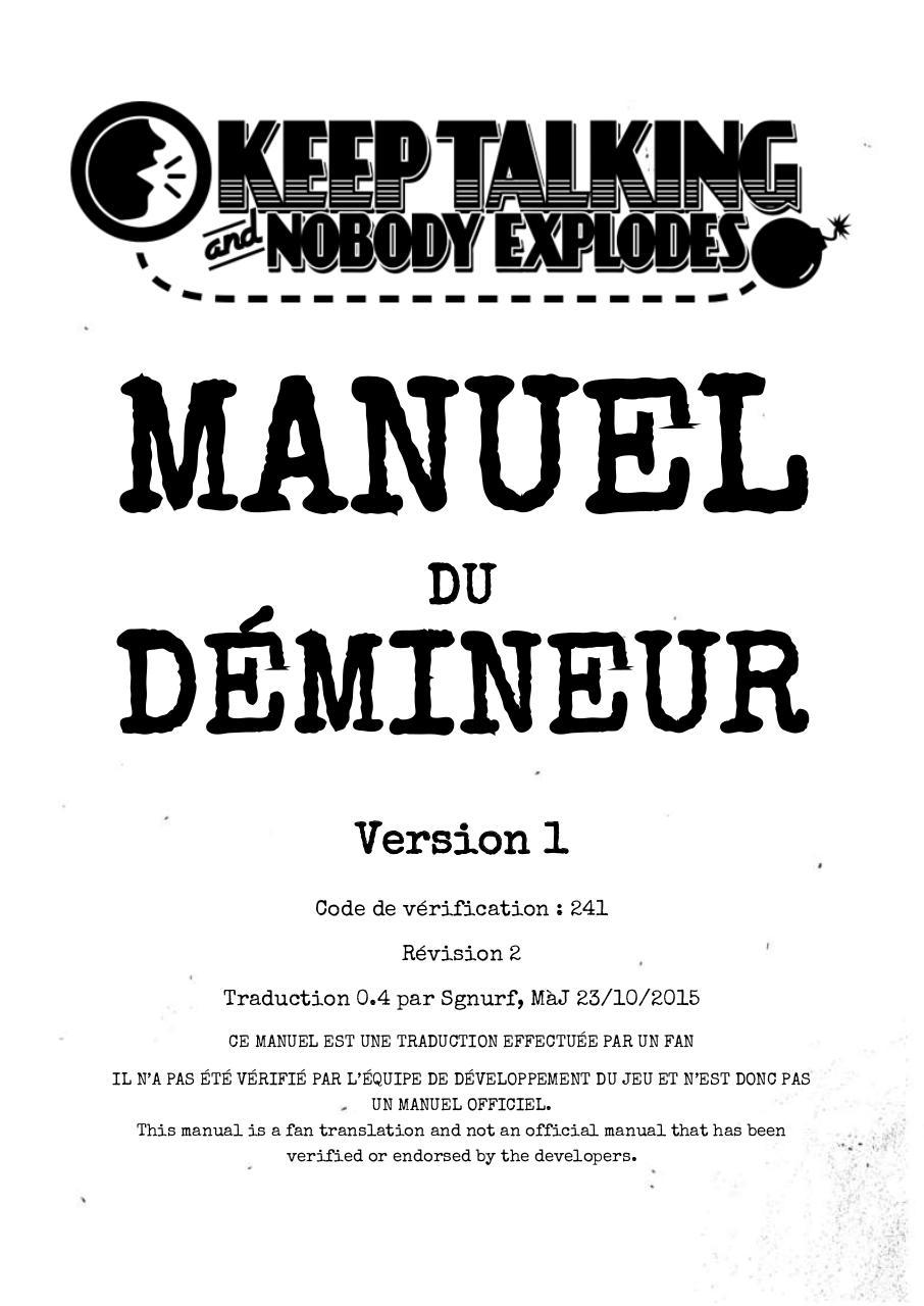 keep talking and nobody explodes manual fr