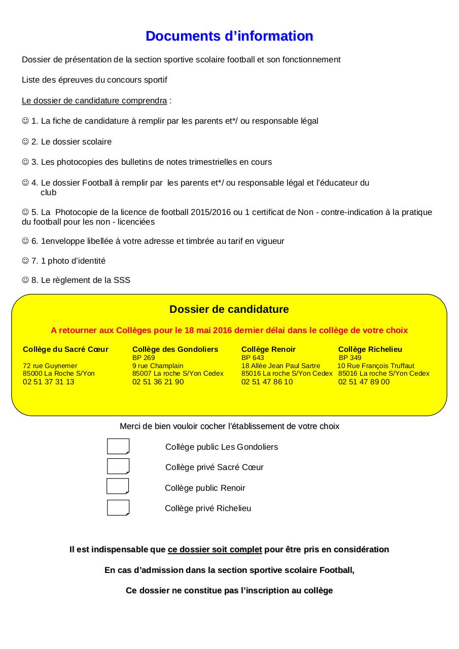 Dossier de candidature SSS Foot GROUPE FEMININ  2016-2017.pdf - page 2/12