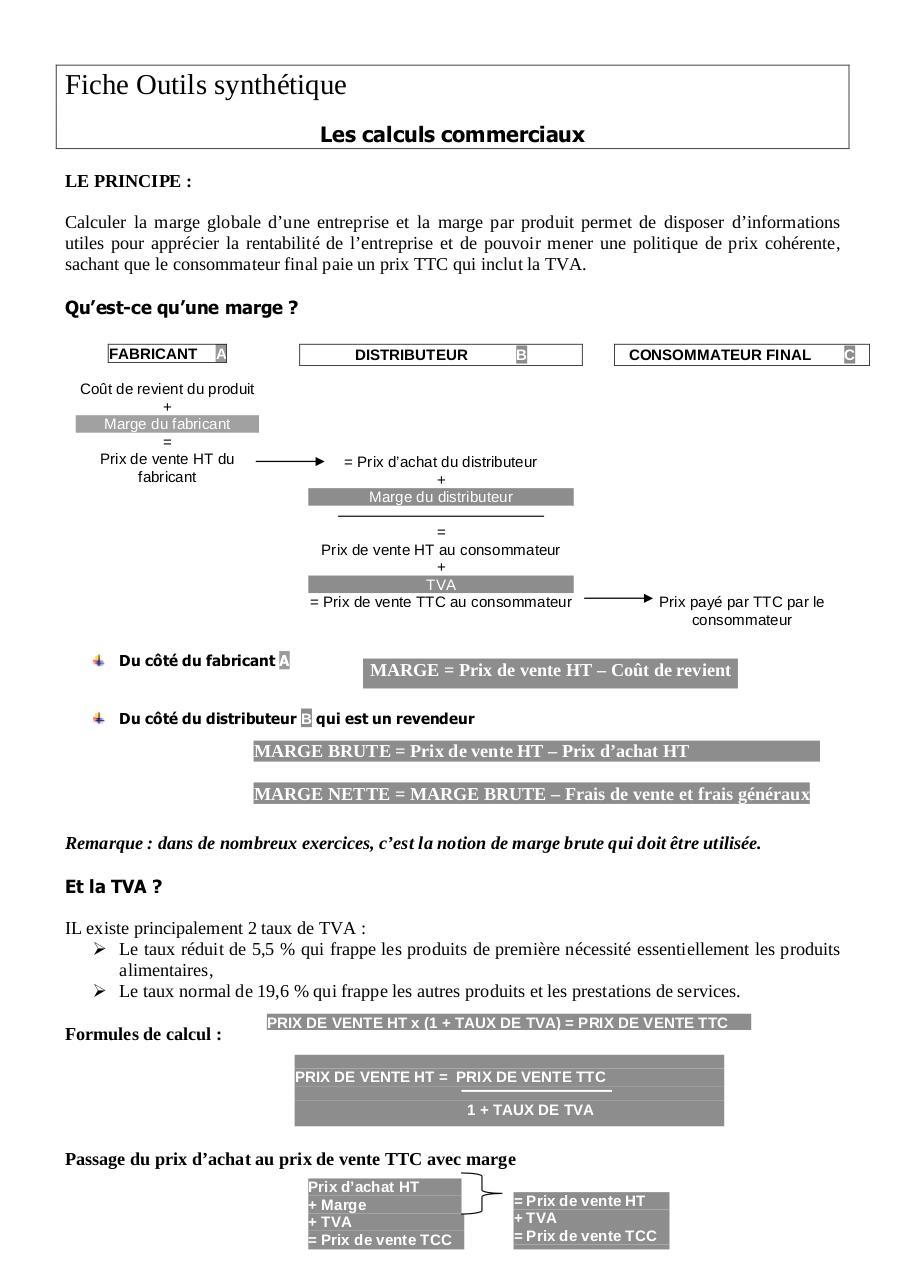 Fiche Outils Calculs Commerciaux Les Formules Par Patrick Deknuydt