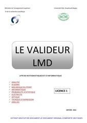le valideur lmd licence 1 edition 2015 pour les etudiants