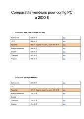 comparatifs vendeurs pour config pc a 2000