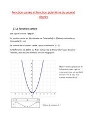 fonction carree et fonction polynome du second degres