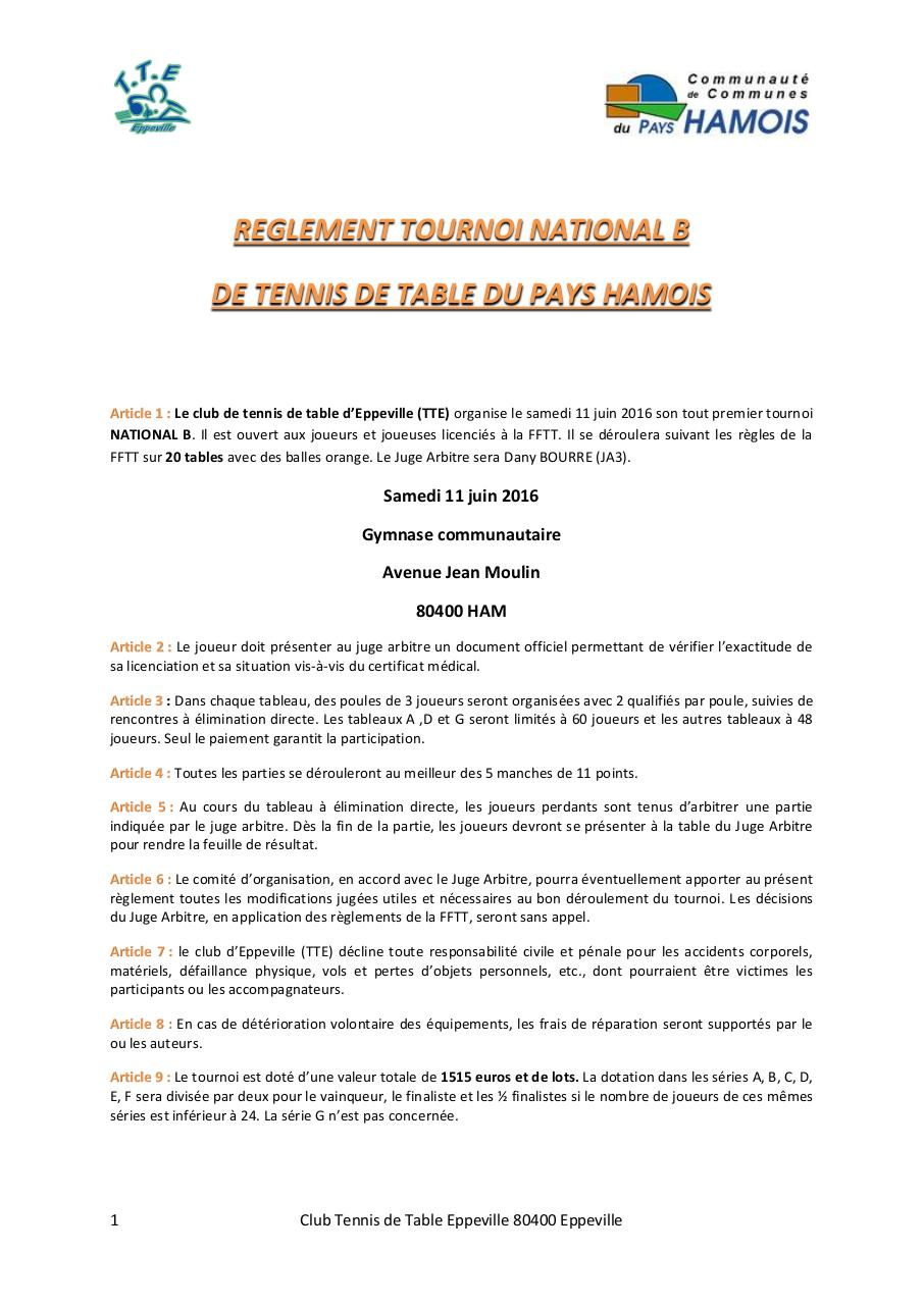 Reglement Tournoi National De Tennis De Table Par Boul Fichier Pdf