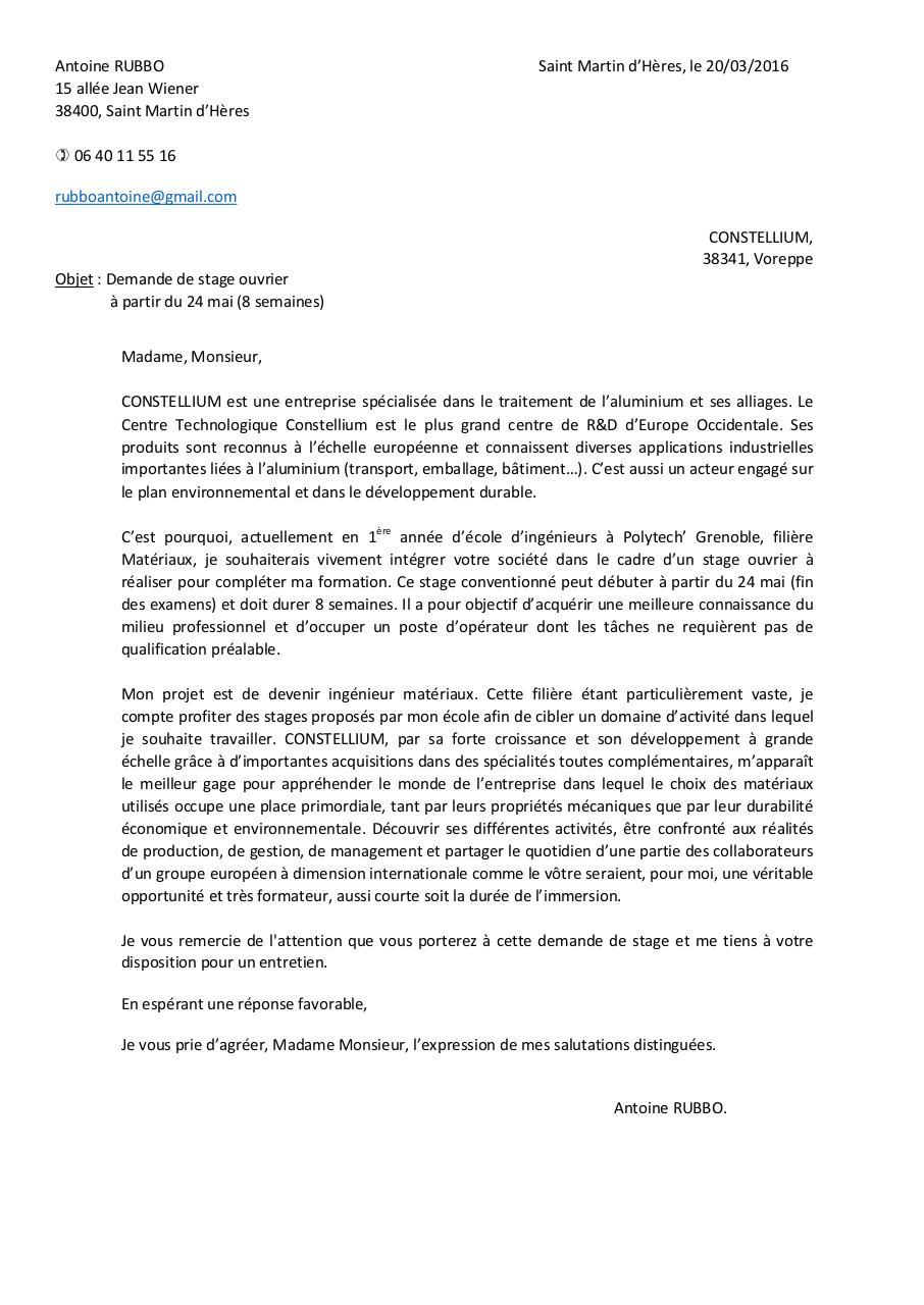 Lettre Motivation Constellium Par Marine Gadet Fichier Pdf
