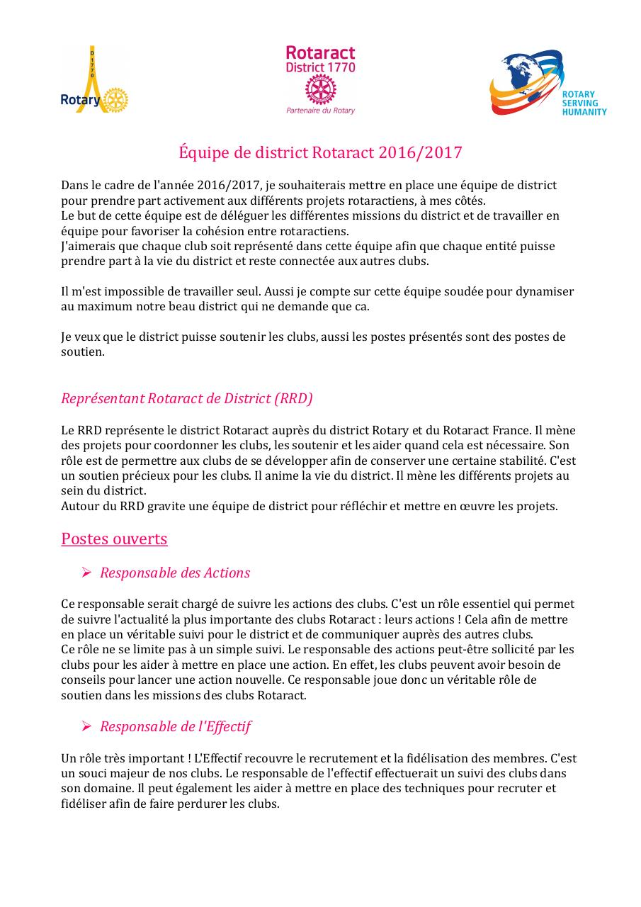 Postes Equipe de district Rotaract 2016-2017.pdf - page 1/2