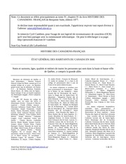 recensement du canada au quebec en 1666