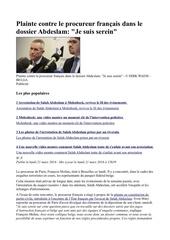 plainte contre le procureur francais