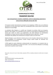 cp mobilisation transporteurs routiers 9 avril 2016