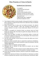 sauce pistache et creme de basilic