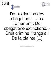 de l extinction des obligations de la plainte
