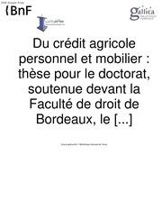 du credit agricole personnel et mobilier