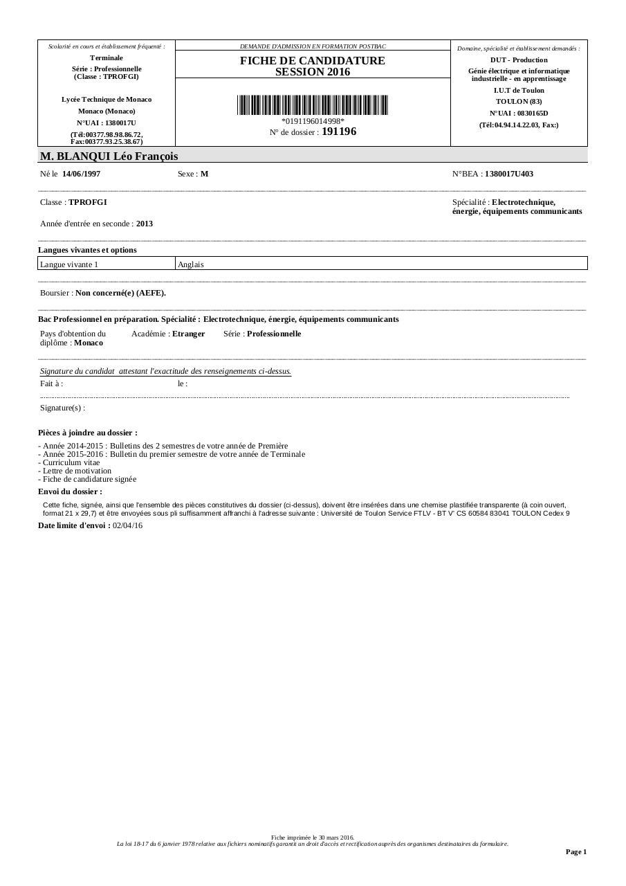 Fiche De Candidature 191196 Par Admission Postbac Dut