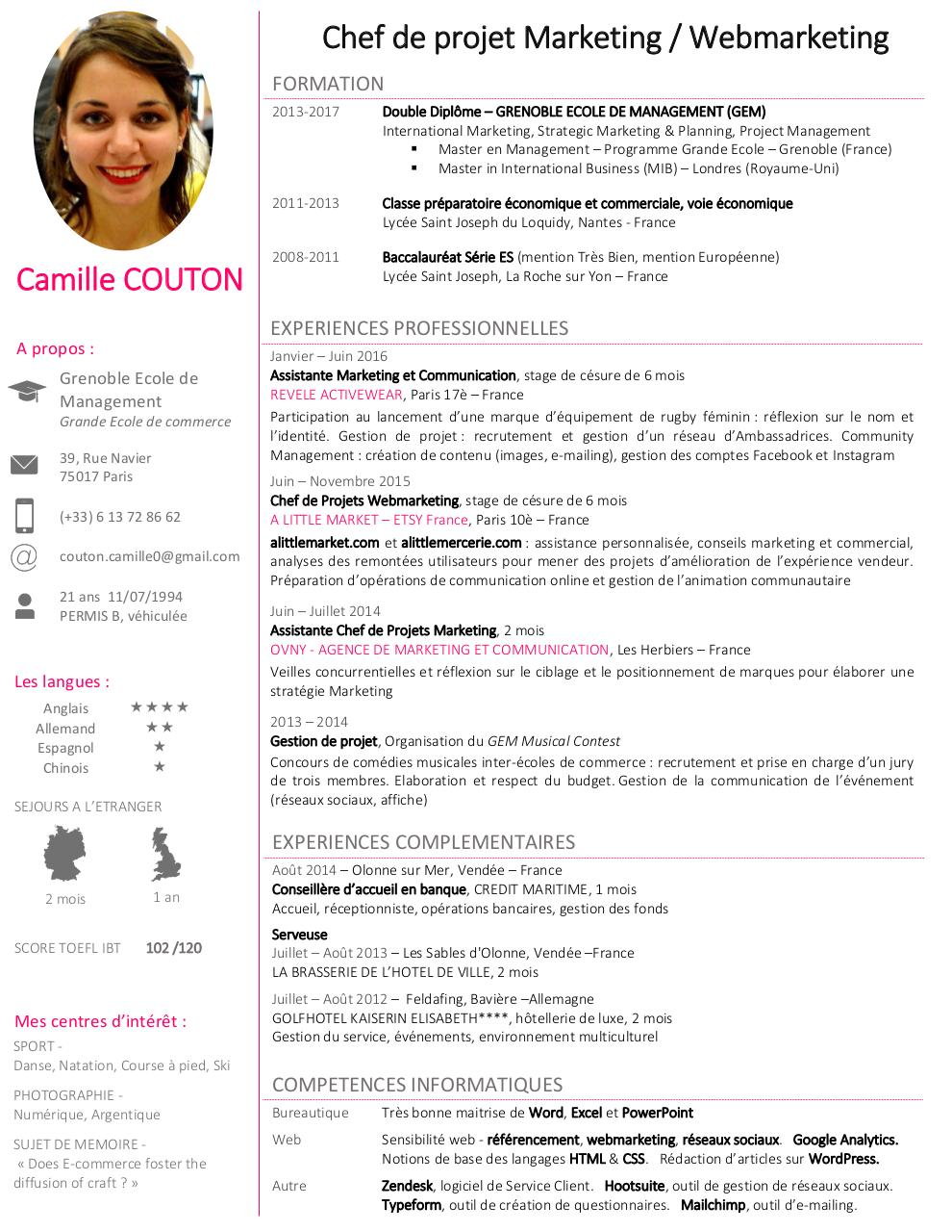 cv camille couton par couton camille