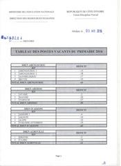 postes vacants 2016 primaire 1