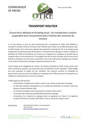 cp report mobilisation transporteurs routiers 9 avril 2016