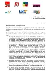 lettre des organisations syndicales aux presidents de groupes de l assemblee nationale 31 03 2016