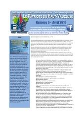 le patriote du haut vaucluse numero 6 avril 2016