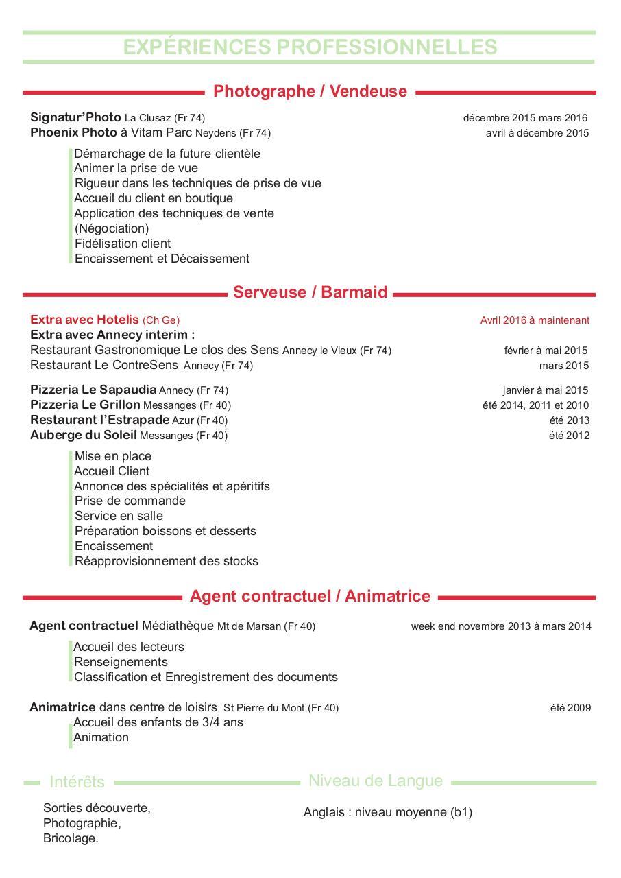 cv exemple de serveuse cv serveuse 2016 cv serveuse 2016 pdf fichier pdf