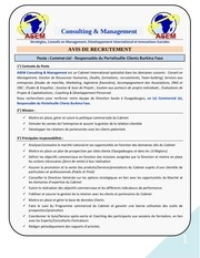 asem recrutement commercial charge d affaires burkina