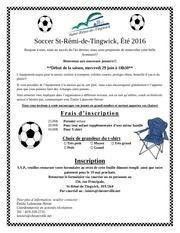 lettre et inscription soccer 2016