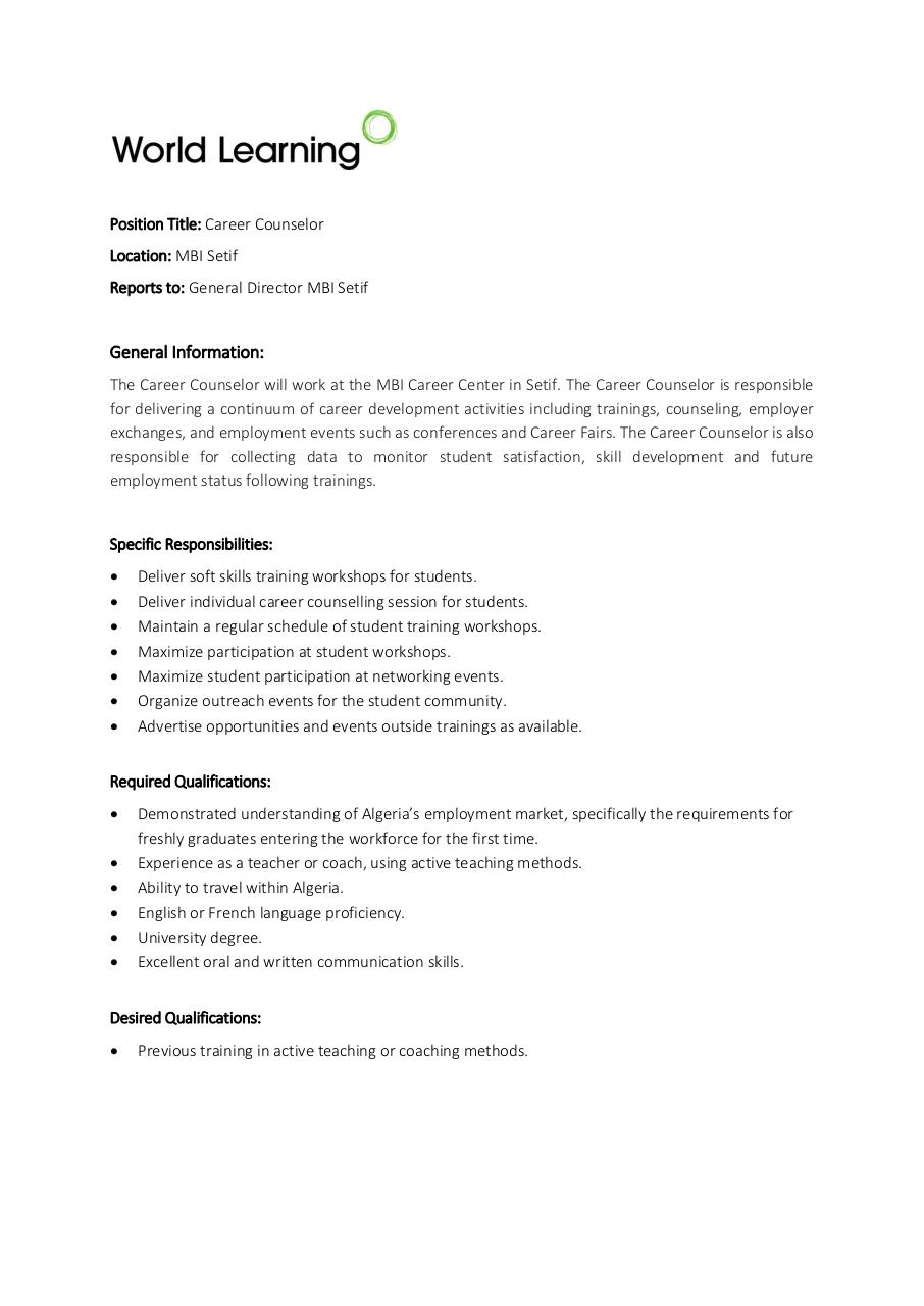 Aperçu du document YEP - Description de Poste - Career Counselor - EN -  MBI.PDF - page 1/1