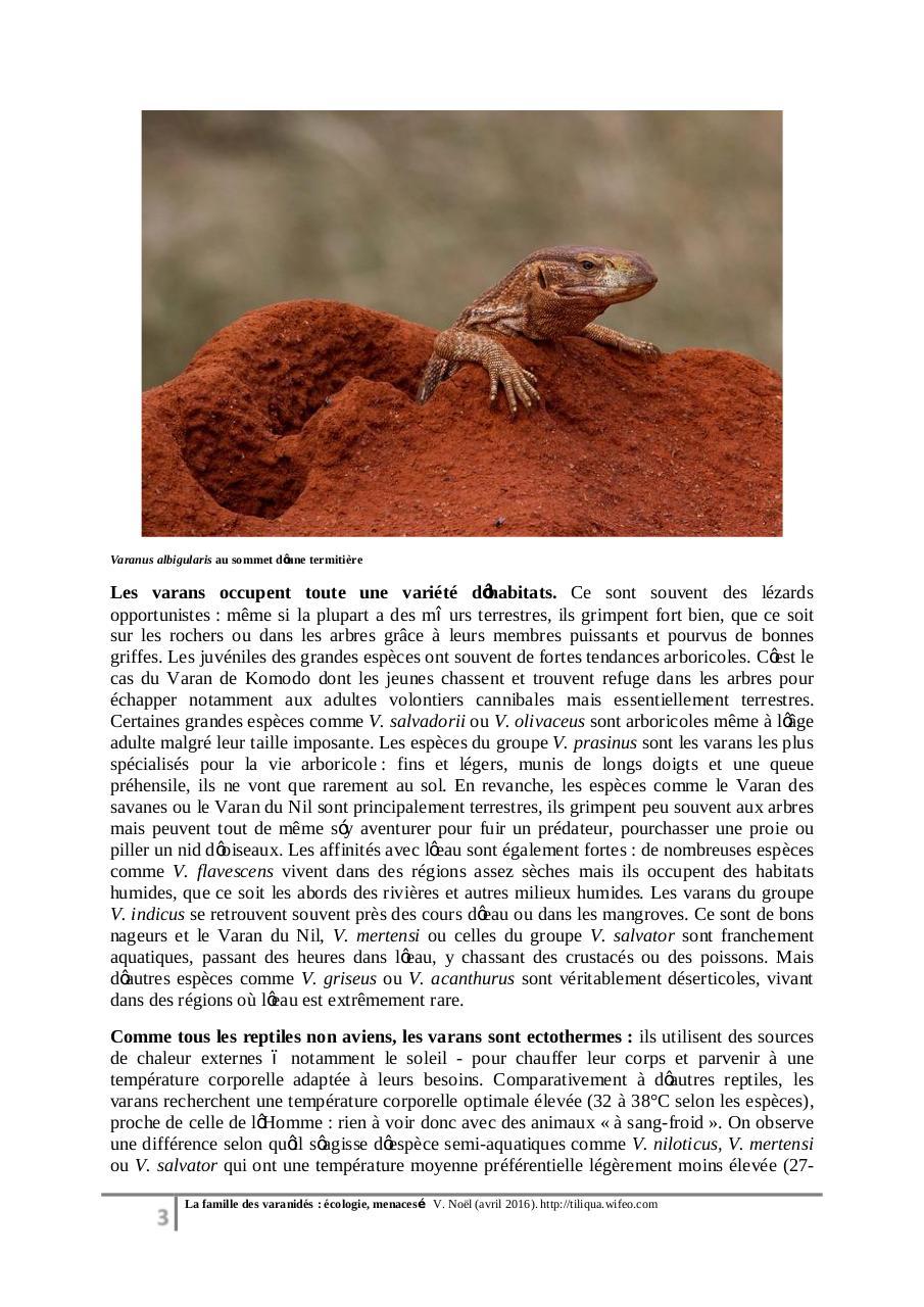 Varanidés Ecologie Menaces Fichier Pdf