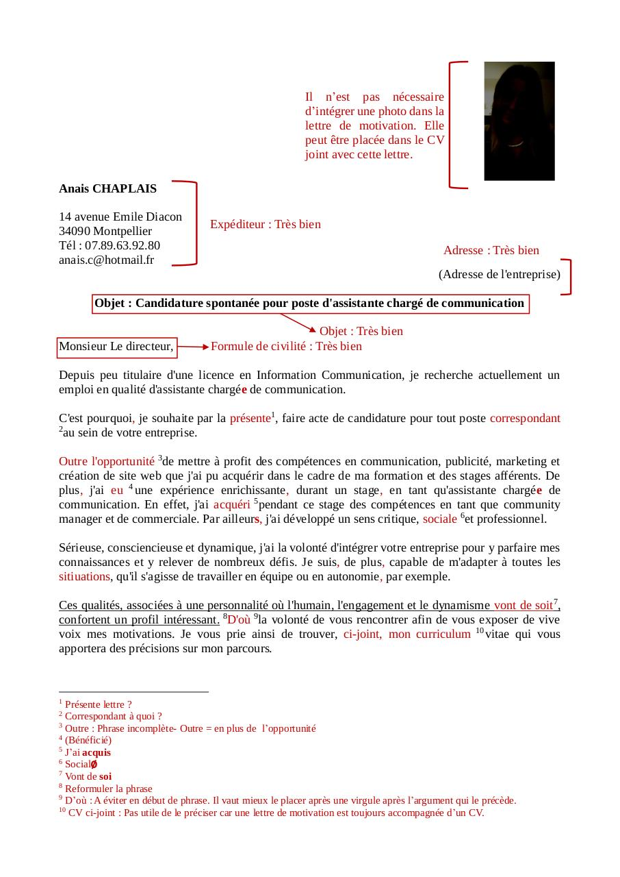 Lettre De Motivation Anais Corrigee Fichier Pdf