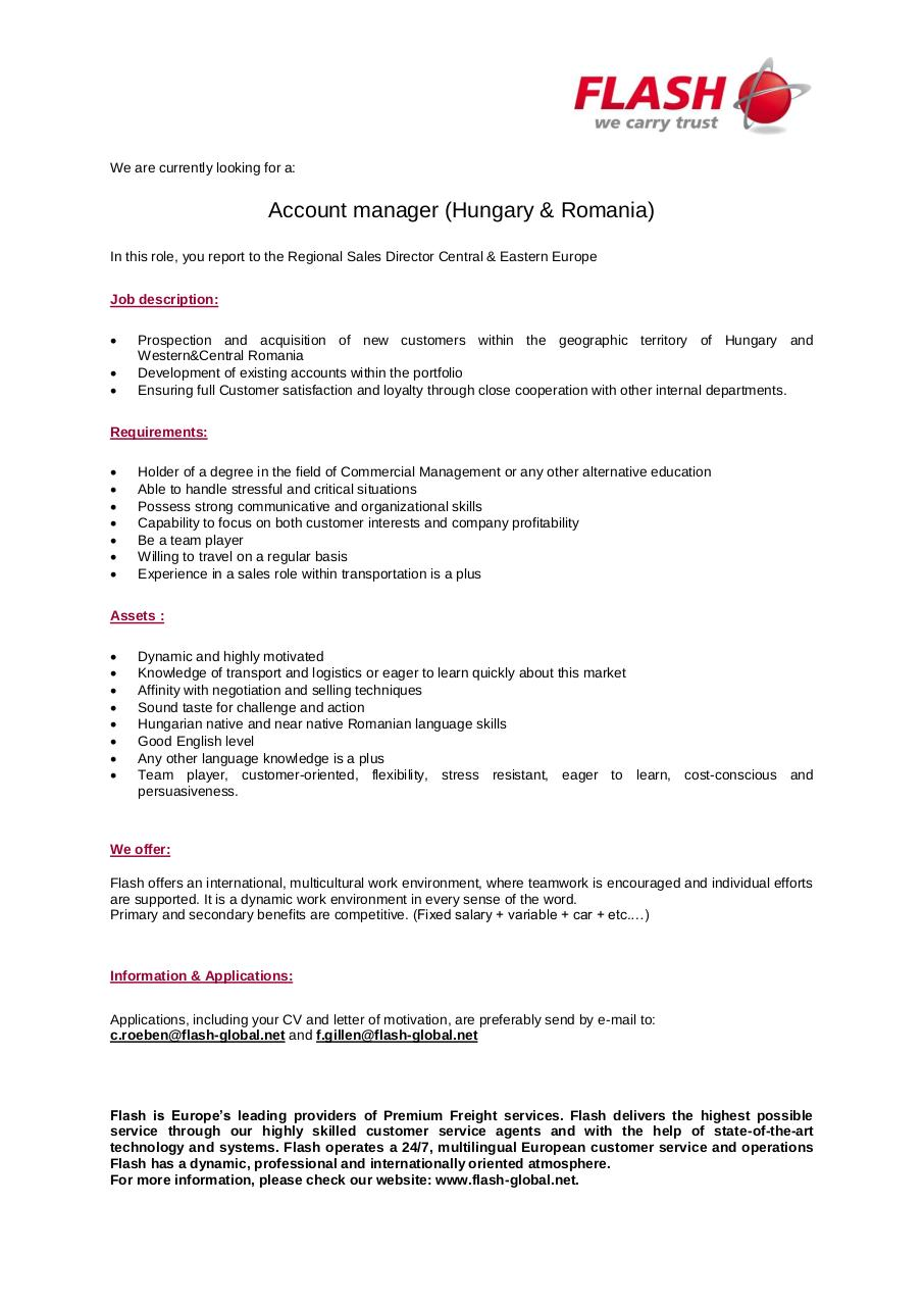 Aperçu du document Recruitment - Account Manager HURO.pdf - page 1/1