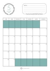 calendrier mai 2016 bleu turquoise