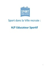 recrutement educateurs sportifs sport dans la ville