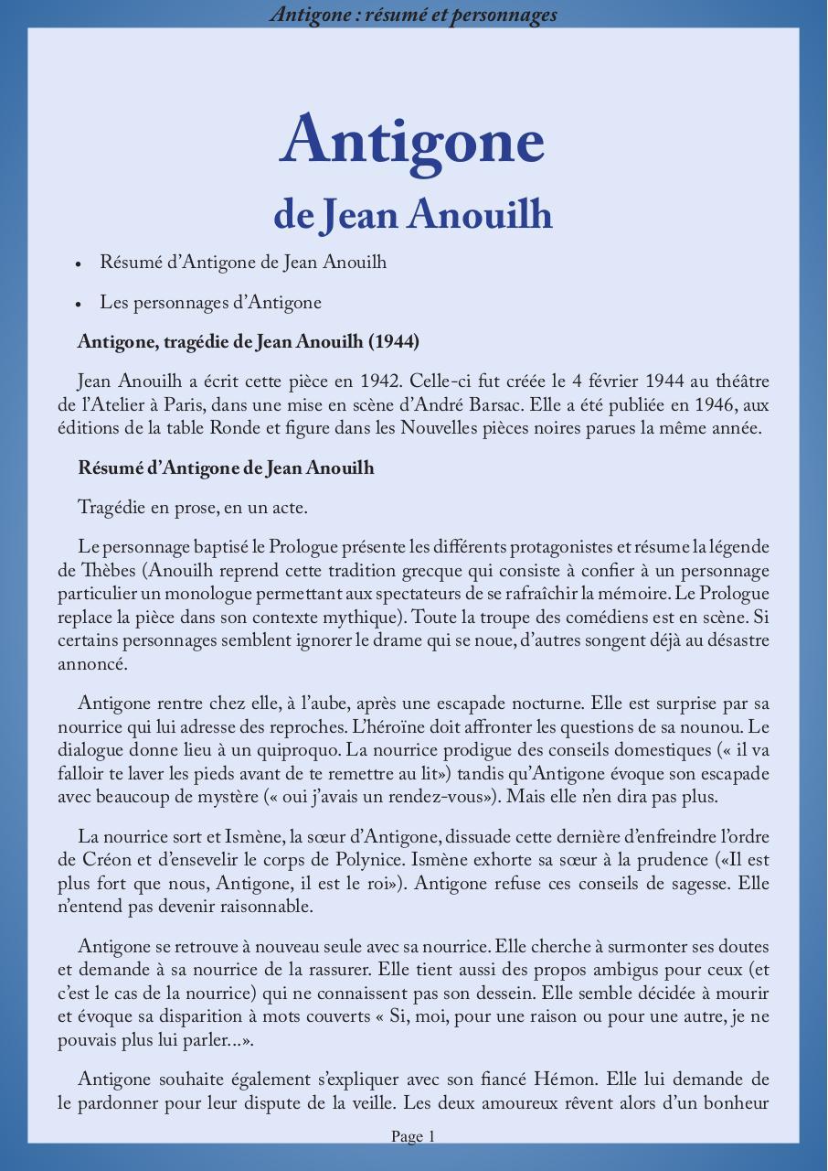 fiche de lecture antigone de jean anouilh par 9alami com