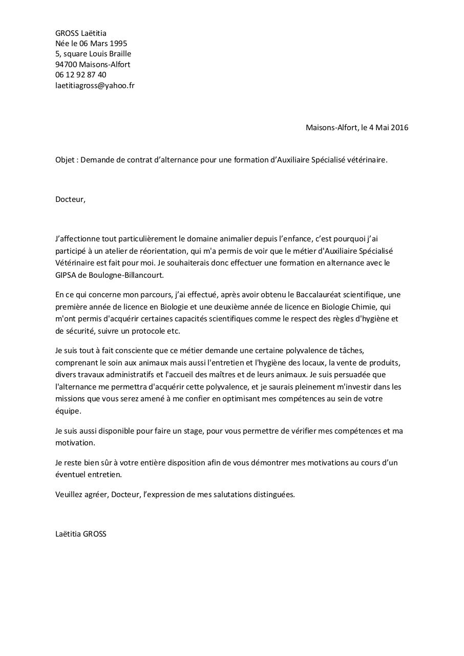 Lettre De Motivation Laetitia Gross Par Laetitia Fichier Pdf