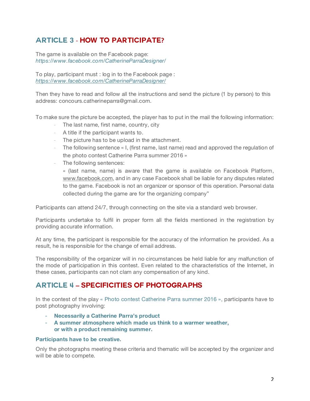 PHOTO CONTEST REGULATION - CATHERINE PARRA SUMMER 2016.pdf - page 2/6
