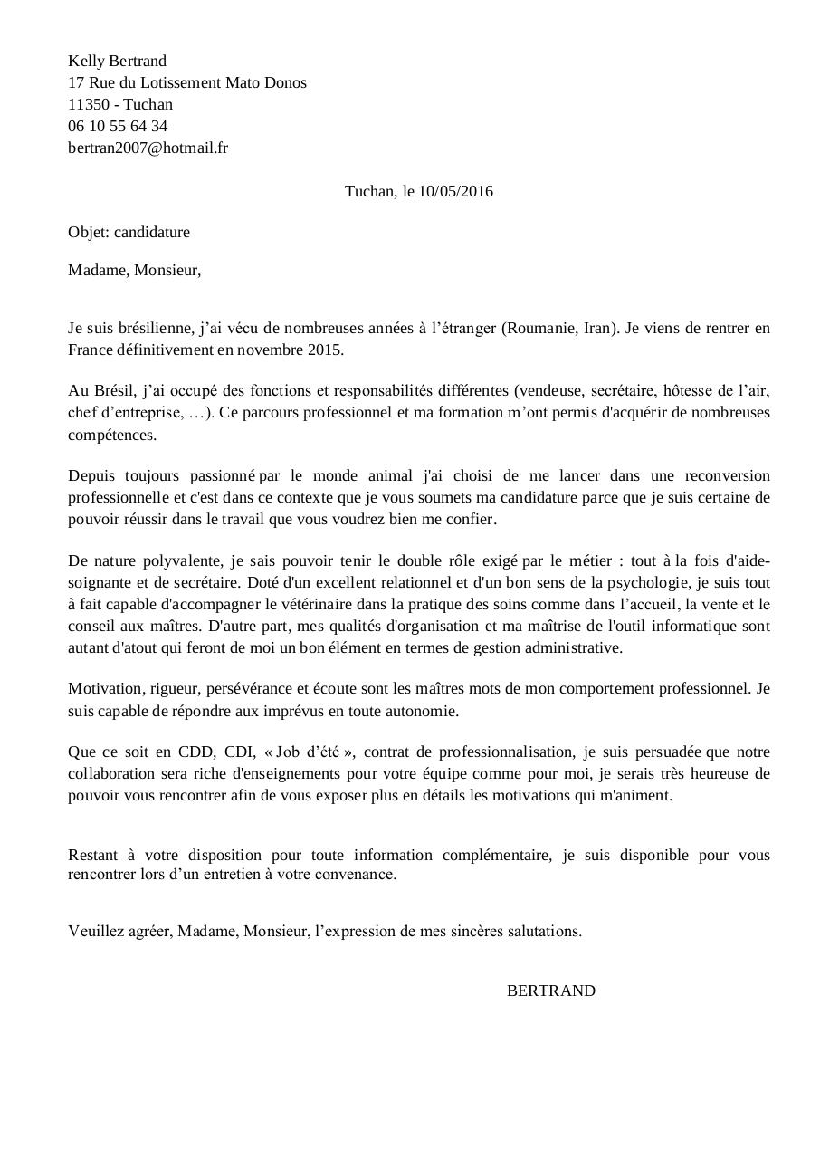 lettre motivation clinique v u00e9t u00e9rinaire 1 pdf par f renou