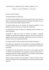declaration du ministre d etat