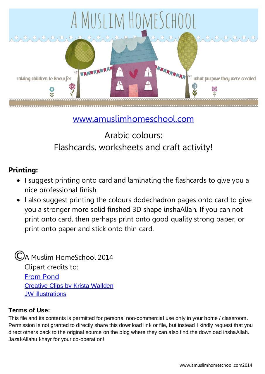 arabic colours flashcards and worksheets par bushnaq&khan - Fichier PDF