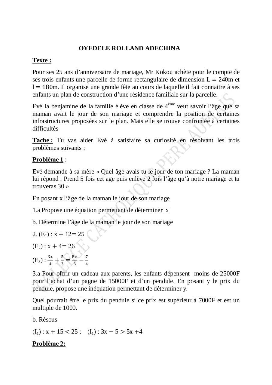 devoir 4 par MOUSE - Exercice 4ème pdf - Fichier PDF